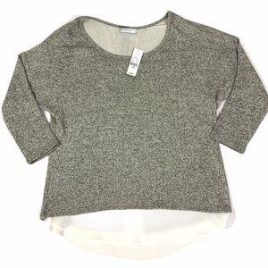 NY&C Grey Metallic White Layered Trim Sweater Top
